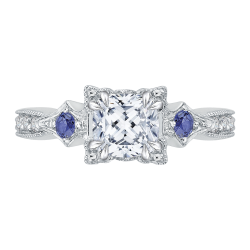 18K White Gold .13 Ct Diamond and 1/3 Ct Saphhire Carizza Semi Mount Engagement Ring to fit Cushion Center