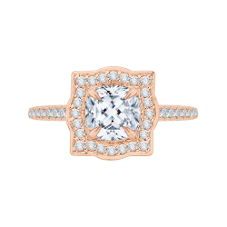 14K Rose Gold Cushion Cut Diamond Halo Vintage Engagement Ring (Semi-Mount)