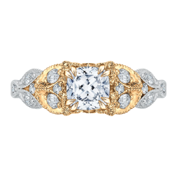 18K Two-Tone Gold Cushion Diamond Engagement Ring