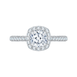 Cushion Cut Halo Diamond Engagement Ring In 14K White Gold (Semi-Mount)
