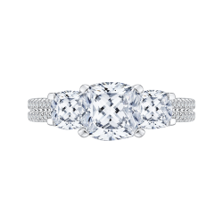 18K White Gold 1 2/3 Ct Diamond and .08 Ct Saphhire Carizza Semi Mount Engagement Ring to fit Cushion Center