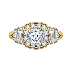 14K Yellow Gold Cushion Diamond Halo Vintage Engagement Ring (Semi-Mount)