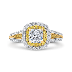18K Two Tone Gold Cushion Cut Diamond Double Halo Engagement Ring with Split Shank