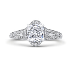 Cushion Diamond Cathedral Style Engagement Ring In 18K White Gold