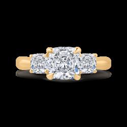 14K Yellow Gold Cushion Cut Diamond Three-Stone Plus Engagement Ring with Round Shank (Semi-Mount)