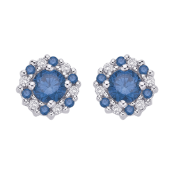 10K White Gold 1/2 ct. Center Blue Diamond Fashion Earrings