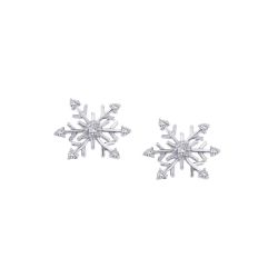 Diamond ''Snow Flake'' Earrings in Sterling Silver (0.12 cttw)
