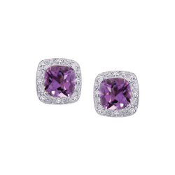 Sterling Silver 0.06 ct. Diamond and 3 1/2 ct. Cushion Cut Amethyst Halo Earrings