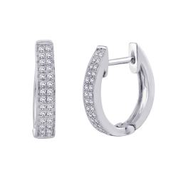 Two Row Diamond Huggie Earrings in 10K White Gold (1/5 cttw)