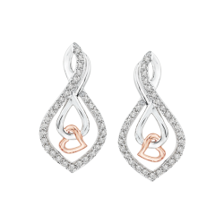 Diamond Infinity Heart Earrings in 10K Two Tone Gold (1/4 cttw)