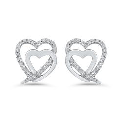 10K White Gold 1/5 Ct Diamond Fashion Earrings