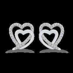 10K White Gold 1/5 Ct Diamond Fashion Earrings