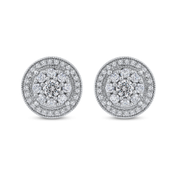 10K White Gold 3/4 Ct Diamond Fashion Earrings