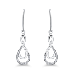 10K White Gold .13 Ct Diamond Fashion Earrings