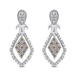 10K White Gold .14 Ct Brown and White Diamond Fashion Earrings