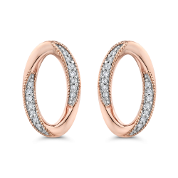 10K Pink Gold 1/10 Ct Diamond Fashion Earrings