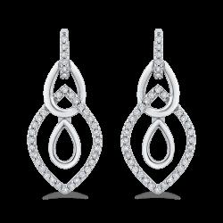 10K White Gold 1/4 Ct Diamond Fashion Earrings