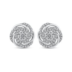 14K White Gold 1/2 ct Round White Diamond Swirl Fashion Stud Earrings