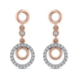 10K Rose Gold 1/3 Ct Diamond Fashion Earrings