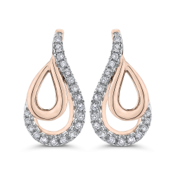 10K Pink Gold 1/5 Ct Diamond Fashion Earrings