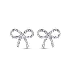 10K White Gold 1/3 Ct Diamond Fashion Earrings
