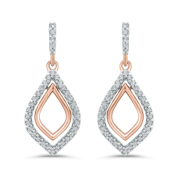 10K Rose Gold 1/4 Ct Diamond Fashion Earrings