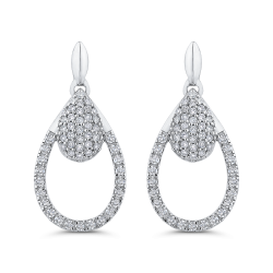 10K White Gold 1/2 Ct Diamond Fashion Earrings