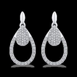 10K White Gold 1/2 Ct Diamond Fashion Earrings