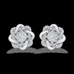 10K White Gold 1/3 Ct Diamond Fashion Earrings