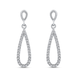 10K White Gold 1/3 ct White Diamond Teardrop Dangle Earrings