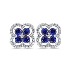 10K White Gold 3/8 ct Diamond with 2.32 ct Sapphire Stud Earring