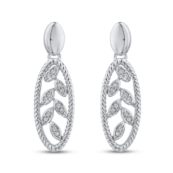 10K White Gold 1/10 ct Round White Diamond Fashion Earrings