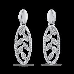 10K White Gold 1/10 ct Round White Diamond Fashion Earrings