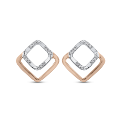 10K Two Tone Gold .07 ct Round Diamond Square Shape Fashion Stud Earrings