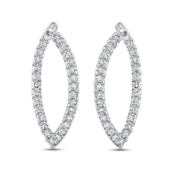 10K White Gold 1.09 ct Round Diamond Fashion Earrings