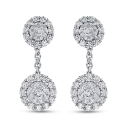 10K White Gold 2.83 ct Round Diamond Fashion Drop Earrings