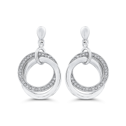 10K White Gold Round 1/5 ct Diamond Fashion Drop Earrings
