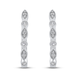 10K White Gold Round 1/4 ct Diamond Fashion Hoop Earrings