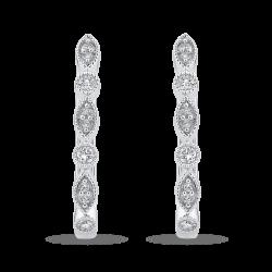 10K White Gold Round 1/4 ct Diamond Fashion Hoop Earrings