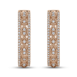 10K Pink Gold Round 1/2 ct Diamond Hoop Earrings