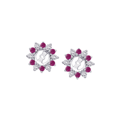 Alternating 1/4 ct. Diamond with 3/8 ct. Ruby Earring Jackets in 14K White Gold