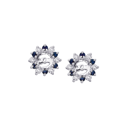Alternating 1/4 ct. Diamond with 3/8 ct. Sapphire Earring Jackets in 14K White Gold