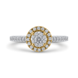 10K Two Tone Gold 2/3 ct Round White Diamond Double Halo Fashion Ring
