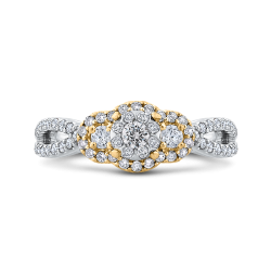 3/4 ct Round Diamond 10K Two Tone Gold Criss-Cross Fashion Ring