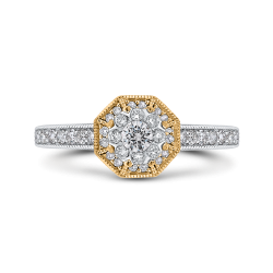 10K Two Tone Gold 2/3 ct Round White Diamond Octagon Shape Fashion Ring