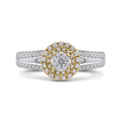 10K Two Tone Gold 3/4 ct Round White Diamond Split Shank Fashion Ring