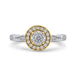 10K Two Tone Gold 1/3 ct Round White Diamond Double Halo Fashion Ring