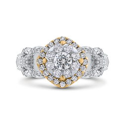 1 ct Round White Diamond Fashion Ring In 10K Two Tone Gold