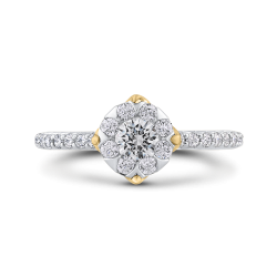 10K Two-Tone Gold 7/8 ct Round Diamond Halo Fashion Ring