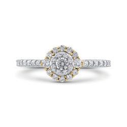 10K Two Tone Gold 5/8 ct Round White Diamond Double Halo Fashion Ring